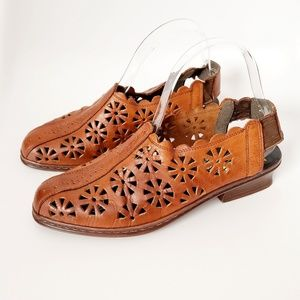 Vintage Brown Leather Laser Cut Slip on Mules